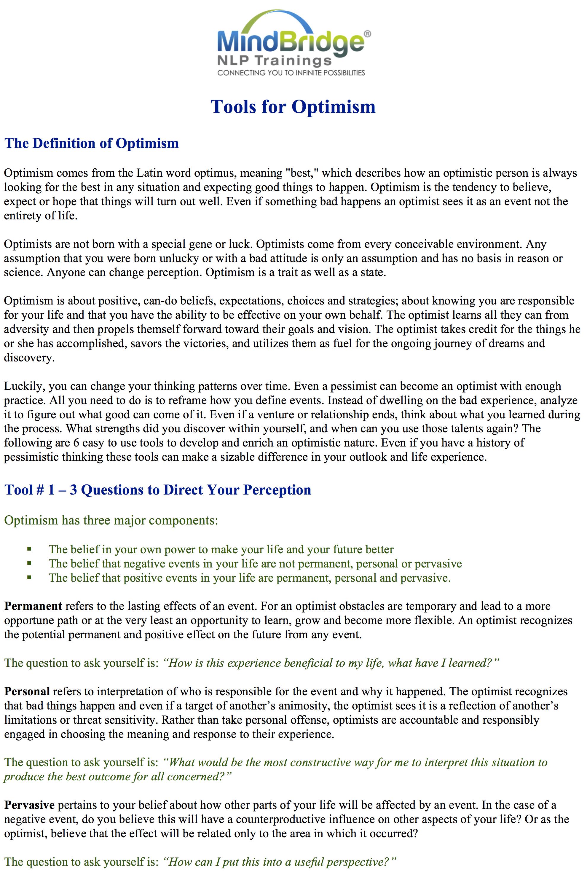 Tools for Optimism1 – Mindbridge NLP Coach Certification Trainings